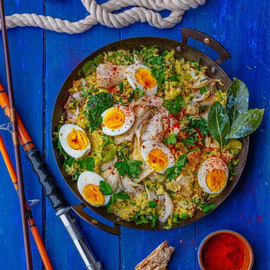 Emily Scott's kedgeree with leeks, wilted spinach, herbs and creme fraiche.