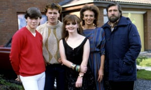Some of the cast of Brookside, 1982.