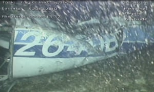 The rear left side of the fuselage found on the seabed of the Channel.