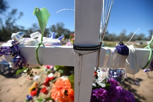 The grave of a domestic violence victim in the NSW outback town of Weilmoringle.