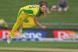 Debutant Darcie Brown has her first wicket.