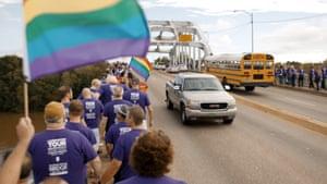 Members of the San Francisco Gay Men's Chorus march over the Edmund Pettus bridge in Selma, Alabama.