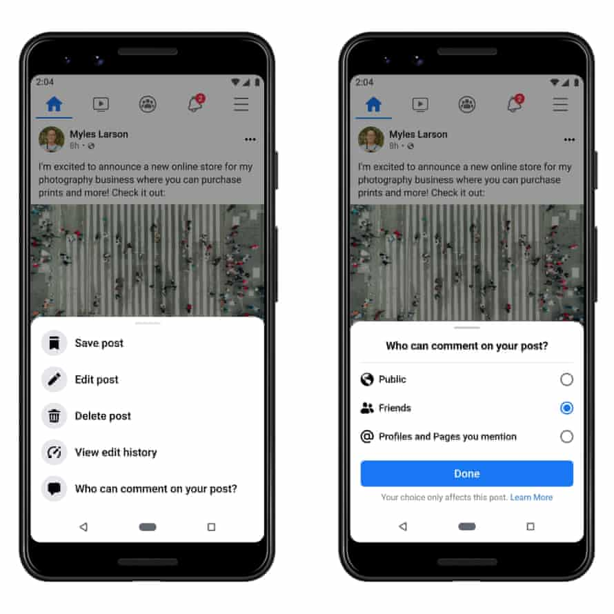 Facebook has introduced tools allowing users and pages to limit who can comment on their public posts, effectively allowing them to turn off or disable comments.