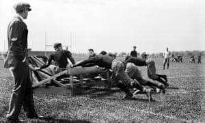 Harvard football team in training circa 1915.