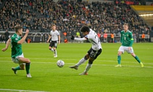 Serge Gnabry scores Germany's equaliser and scored twice more as they beat Northern Ireland 6-1.