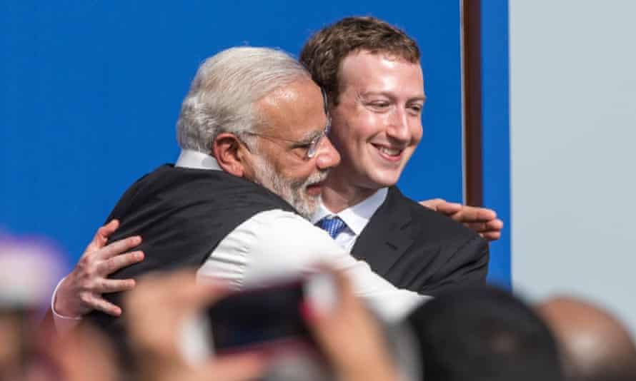 Indian prime minister Narendra Modi embraces Facebook CEO Mark Zuckerberg at a meeting in California.