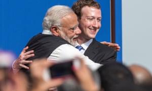 Facebook's Mark Zuckerberg and Indian PM Narendra Modi.