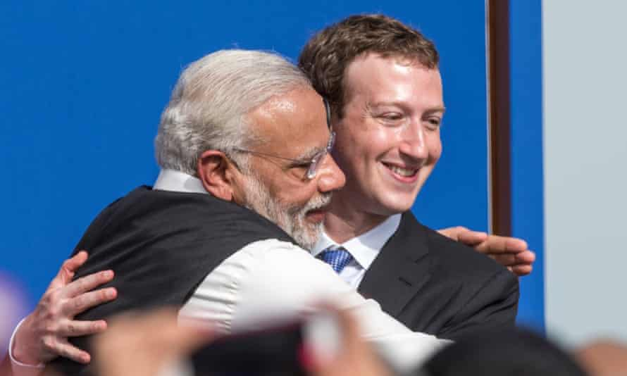 Modi with Facebook founder Mark Zuckerberg.