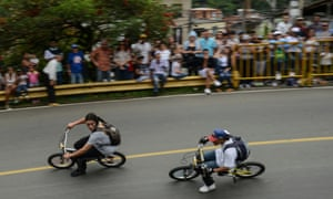 The gravity bike competition at the 29th car festival in Medellín, November 2018.