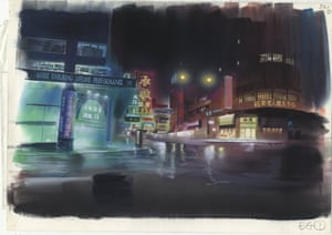 A final background painting for Ghost in the Shell, cut 341, watercolour on paper