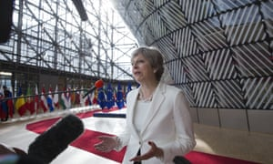 Theresa May at the EU summit in the Europa building in Brussels on 23 June.