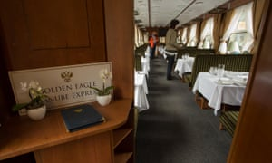 First class service: A dining car at the Golden Eagle Danube Express in Budapest, Hungary.