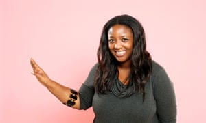 Anne-Marie Imafidon tries out the Myo gesture control armband.