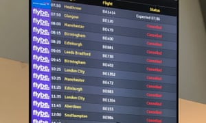 The flight departure boards showing cancelled flights at Belfast Airport as Flybe, Europe's biggest regional airline, has collapsed into administration.