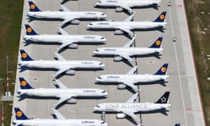 Lufthansa planes sitting on the tarmac at Berlin's Brandenburg International airport
