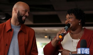 Common and Stacey Abrams, democratic gubernatorial candidate for Georgia, at a Souls to the Polls rally ahead of the midterm elections in Atlanta, Georgia, 28 October 2018.