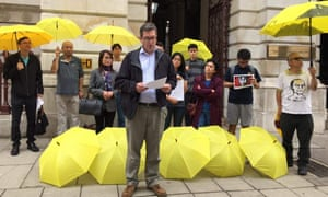Benedict Rogers addressing a pro-democracy protest outside the FCO in August