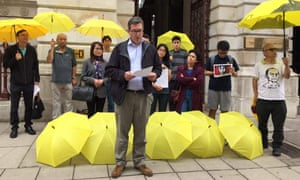 Benedict Rogers, who was barred from entering Hong Kong, addressing a pro-democracy protest outside the Foreign Office in August.