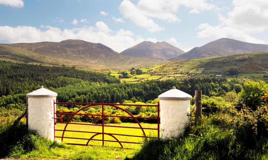 The Mourne Mountains, County Down, Northern Ireland. South over the Trassey Valley and Tollymore Forest Park to Slieve Bearnagh