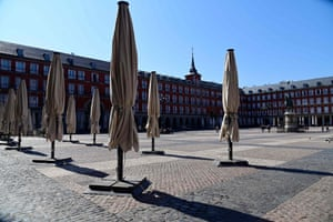 Restaurant terraces remain closed at the usually overcrowded Plaza Mayor in central Madrid.
