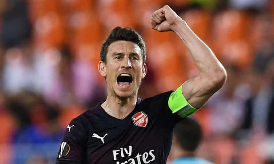 Laurent Koscielny celebrates an Arsenal goal during the win at Valencia which took them to Wednesday's Europa League final against Chelsea.