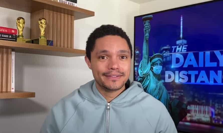 """Trevor Noah: """"Health officials are asking for us to cover our faces to protect ourselves, and everyone is acting like they have to get spayed and neutered. And the people who don't wear masks are ruining it for everyone."""""""