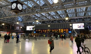 Glasgow Central Station, normally packed with people during rush hour in Glasgow, Britain, 19th March 2020.