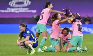 Barcelona players celebrate winning the UEFA Women's Champions League.
