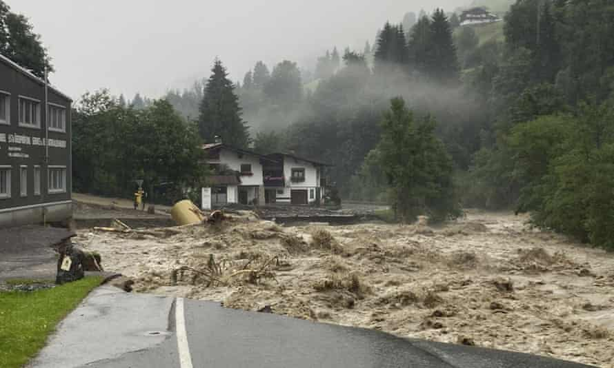 A damaged street in Kelchsau near Kitzbuehel, Austria.