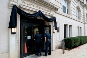 Mourning bunting is displayed outside of US Capitol Police Headquarters on April 13.