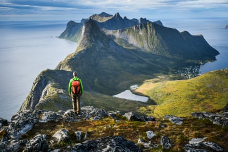 Hiking amongst the dramatic scenery on the island of Senja, Norway