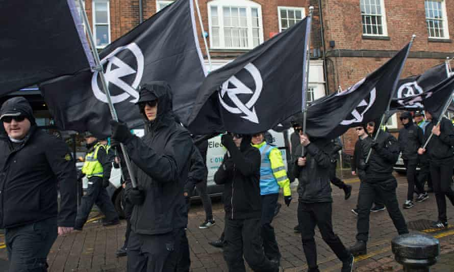 Members of the proscribed far-right group National Action march in Darlington in support of Jack Renshaw, who was charged with plotting to kill a Labour MP.