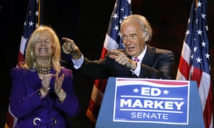 Ed Markey celebrates his victory on Tuesday night.