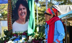 Indigenous leader Pascuala Vásquez takes part in a ceremony to commemorate the fourth anniversary of the murder of Berta Caceres, in La Esperanza, Honduras, on 2 March 2020.