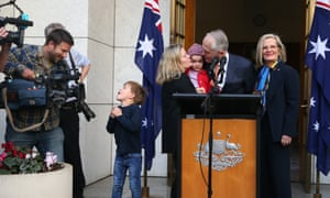 Former prime minister Malcolm Turnbull with Lucy Turnbull, daughter Daisy and Grandchildren Alice and Jack at a press conference on Friday.