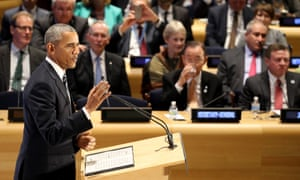 Barack Obama addresses a meeting on refugees during the UN general assembly.