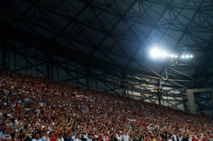 England fans enjoy the first half at the Stade Vélodrome.