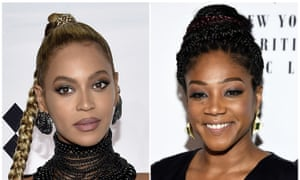 Tiffany Haddish, right, told GQ magazine that someone allegedly bit Beyoncé, left.