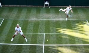 Lleyton Hewitt (left) and Jordan Thompson during their doubles victory over Jeevan Nedunchezhiyan and Purav Raja.