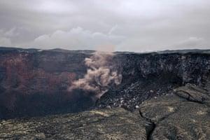 The crater of the active Nyamuragira volcano in the Virunga national park.