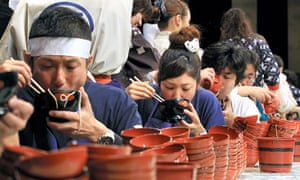 Competitors pile up the emptied bowls at Morioka's Wanko competition.