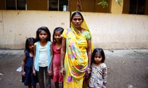 Jayshree Parkhe with her four girls. The children had to drop out of school when the family's shack was razed and they were moved to Mahul.