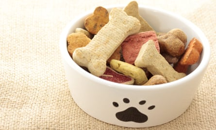 A mixture of dog treats in a bowl.