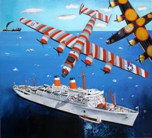Malcolm Morley's B25 Liberator Over Independence, 2013, influenced by his memories of the second world war.