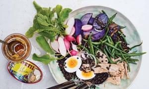 Spiced black lentil salad with tuna, radish and purple potatoes