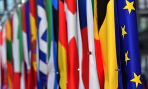 European flags in Brussels