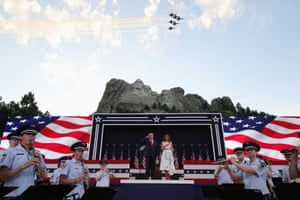 Jets fly over as Trump and Melania celebrate the Fourth of July.