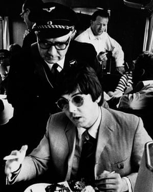 Barrow, back right, on a tour train in Germany with Paul McCartney and the Beatles in 1966.