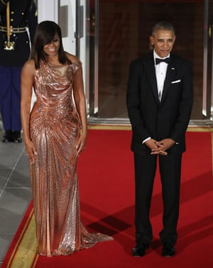 Michelle Obama in Versace for a state dinner at the White House, 2016.