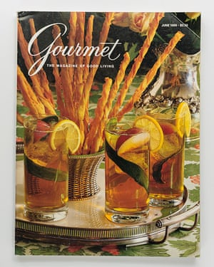 Pimm's Cups by Romulo Yanes for Gourmet magazine cover, 1989.